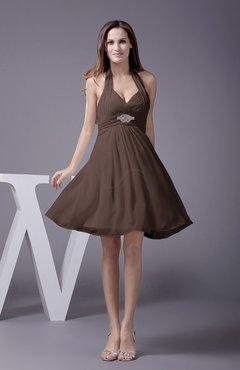 Elegant Long Brown Dress