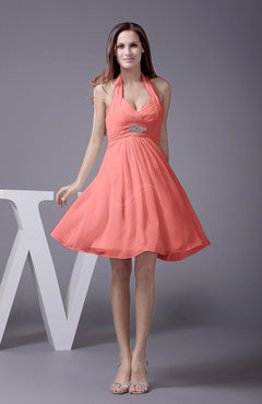 Coral Elegant Halter Sleeveless Zip up Knee Length Flower Prom Dresses