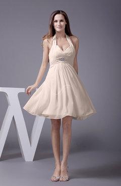Cream Elegant Halter Sleeveless Zip Up Knee Length Flower Prom Dresses