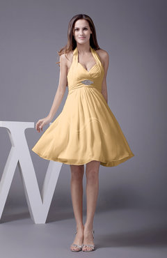 Gold Elegant Halter Sleeveless Zip up Knee Length Flower Prom Dresses
