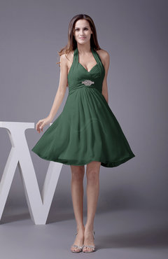 Hunter Green Elegant Halter Sleeveless Zip up Knee Length Flower Prom Dresses