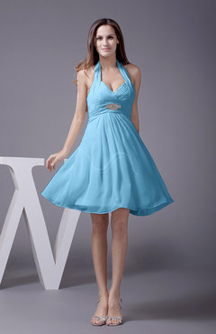 Light Blue Elegant Halter Sleeveless Zip up Knee Length Flower Prom Dresses