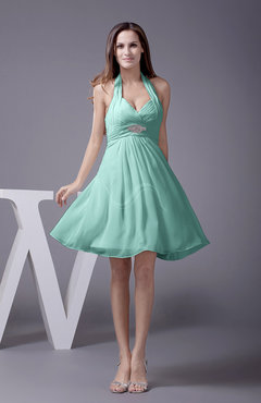Mint Green Elegant Halter Sleeveless Zip up Knee Length Flower Prom Dresses
