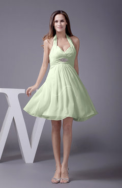 Pale Green Elegant Halter Sleeveless Zip up Knee Length Flower Prom Dresses