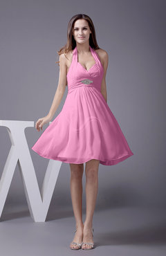 Pink Elegant Halter Sleeveless Zip up Knee Length Flower Prom Dresses