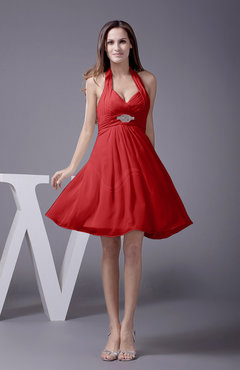 Red Elegant Halter Sleeveless Zip up Knee Length Flower Prom Dresses