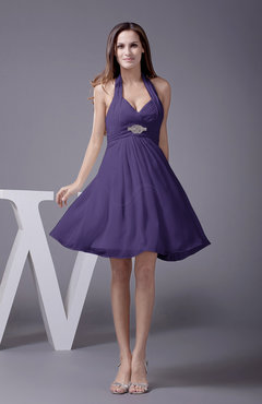 Royal Purple Elegant Halter Sleeveless Zip up Knee Length Flower Prom Dresses