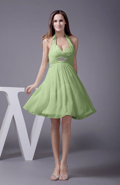 Sage Green Elegant Halter Sleeveless Zip up Knee Length Flower Prom Dresses
