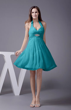 Teal Elegant Halter Sleeveless Zip up Knee Length Flower Prom Dresses
