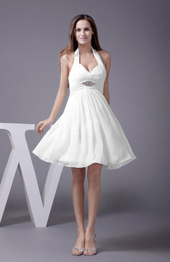 White Elegant Halter Sleeveless Zip up Knee Length Flower Prom Dresses