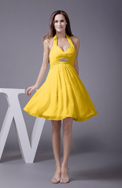 Yellow Elegant Halter Sleeveless Zip up Knee Length Flower Prom Dresses