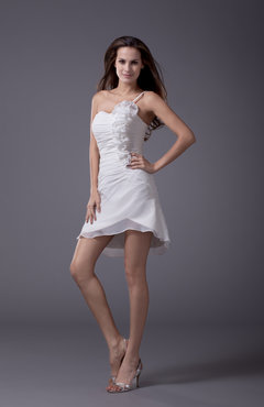 White Hawaiian A-line Sleeveless Short Ruching Party Dresses