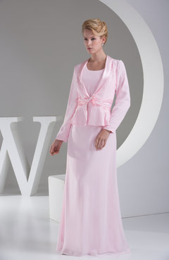 Baby Pink Traditional A-line Long Sleeve Chiffon Floor Length Evening Dresses