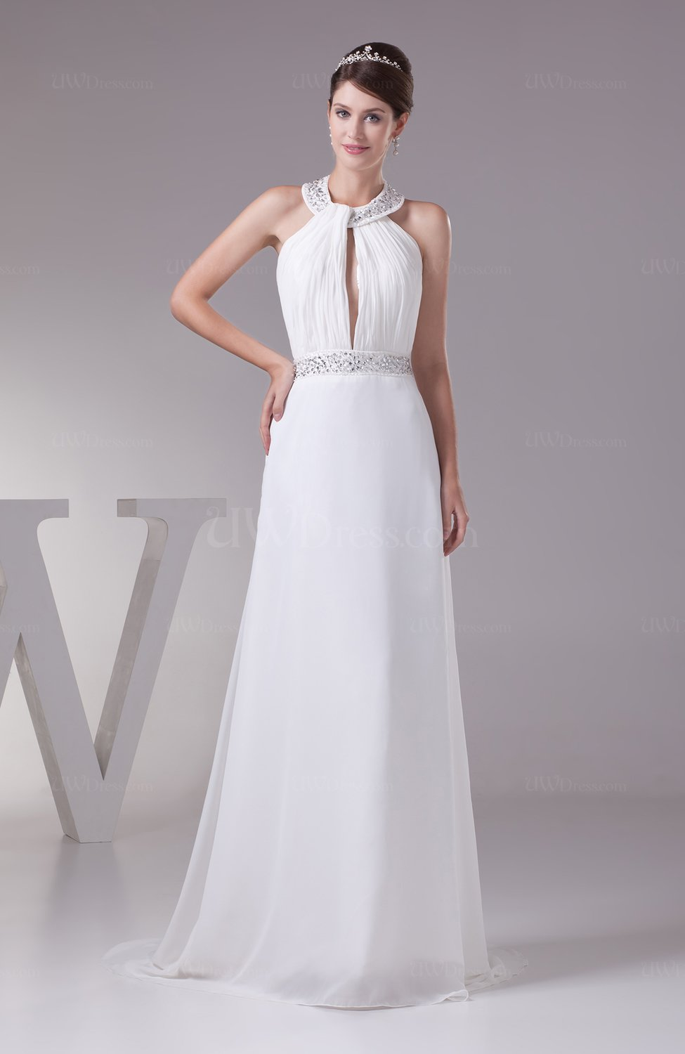 plain church a line sleeveless backless ruching bridal