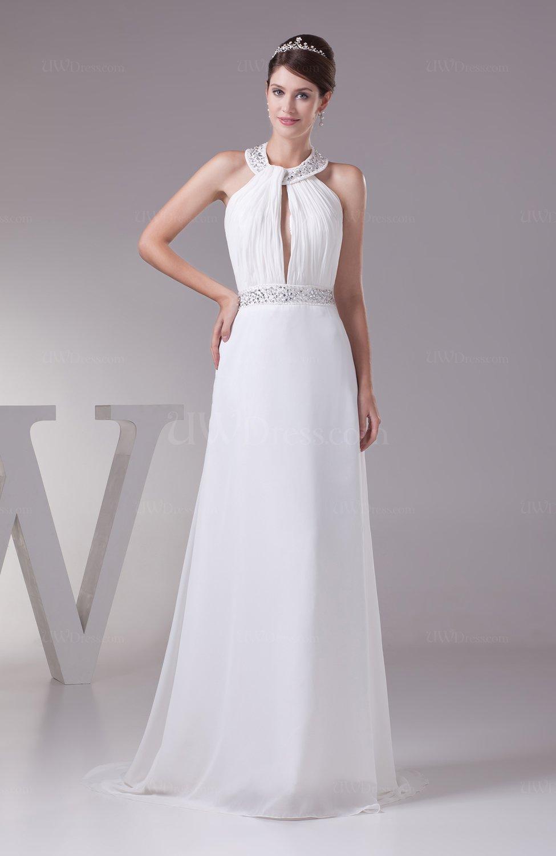 Plain church a line sleeveless backless ruching bridal for Plain a line wedding dress