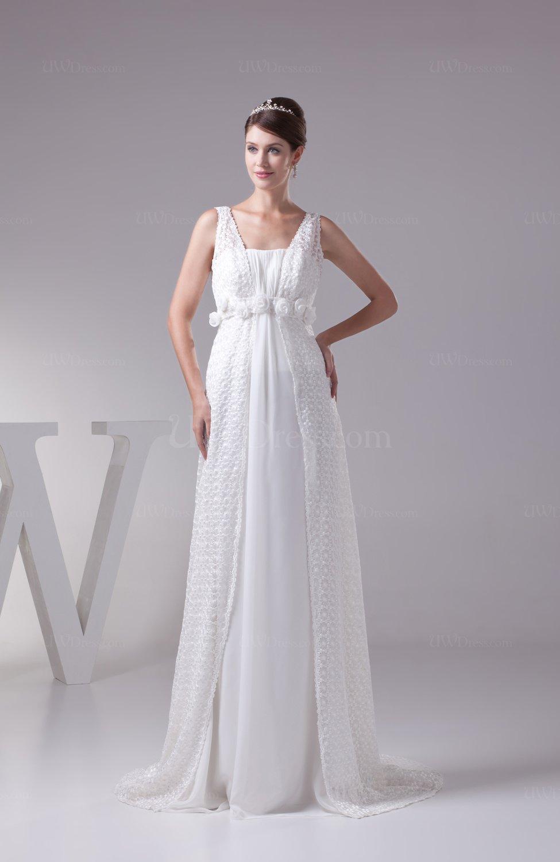Plain church a line zipper chiffon flower bridal gowns for Plain a line wedding dress
