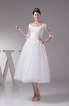 Antique Destination A-line 3/4 Length Sleeve Lace up Appliques Bridal Gowns