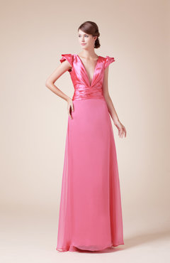 Coral Simple A-line V-neck Short Sleeve Chiffon Ruching Party Dresses
