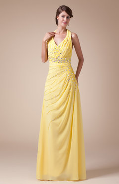 Pale Yellow Gorgeous Halter Sleeveless Chiffon Floor Length Rhinestone Mother of the Bride Dresses