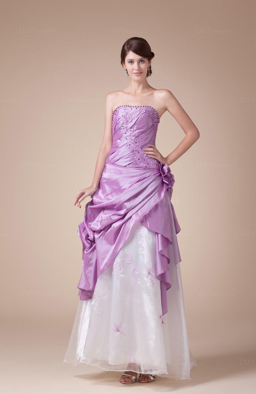 Mauve Fairytale Strapless Sleeveless Taffeta Floor Length Prom ...