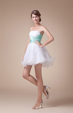 White Cute Strapless Sleeveless Lace up Organza Prom Dresses