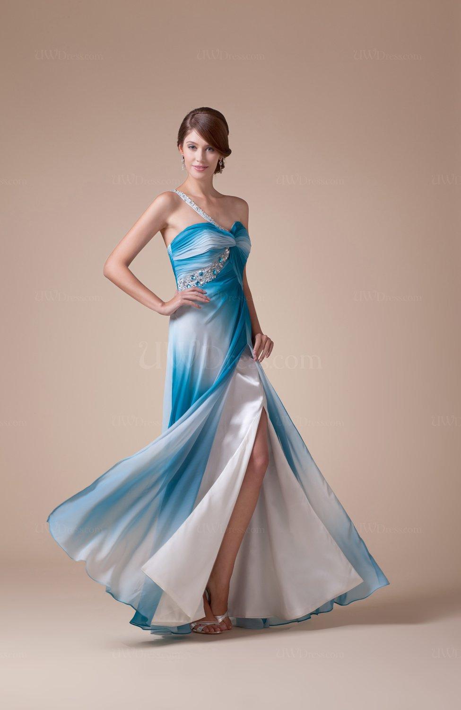 Mature One Shoulder Zipper Floor Length Rhinestone Prom