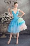 Cinderella Baby Doll V-neck Short Sleeve Backless Graduation Dresses