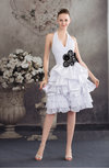 Cute Hall Halter Lace up Chiffon Knee Length Pleated Bridal Gowns