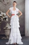 Plain Church A-line Sleeveless Zipper Sweep Train Bridal Gowns