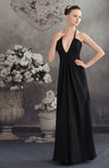 Modest Halter Sleeveless Chiffon Floor Length Homecoming Dresses