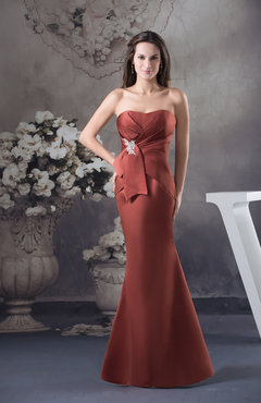 Rust Sexy Mermaid Zipper Satin Floor Length Appliques Graduation Dresses
