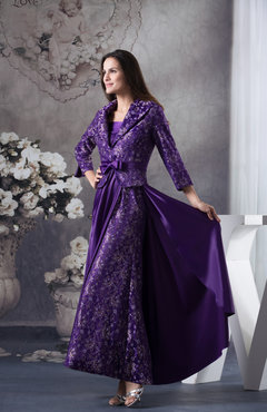Mature A-line 3/4 Length Sleeve Zipper Ankle Length Prom Dresses
