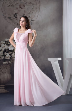 Baby Pink Modest Backless Chiffon Floor Length Rhinestone Mother of the Bride Dresses