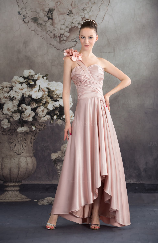 Silver peony elegant a line one shoulder backless tea for One shoulder tea length wedding dress
