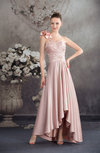 Elegant A-line One Shoulder Backless Tea Length Flower Bridesmaid Dresses