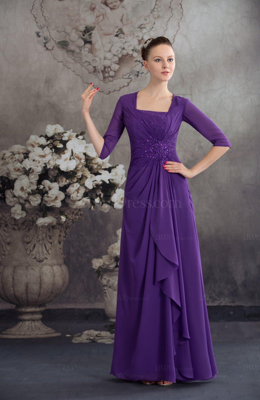 Dark Purple Traditional Elbow Length Sleeve Zip up Chiffon ...