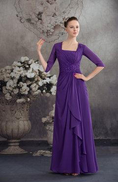 Dark Purple Traditional Elbow Length Sleeve Zip up Chiffon Floor Length Ruching Homecoming Dresses