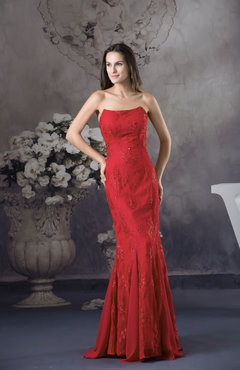 Red Mature Mermaid Strapless Zipper Chiffon Floor Length Party Dresses