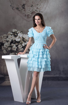 Aqua Cute Short Sleeve Lace up Chiffon Ruffles Party Dresses