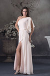 Plain A-line One Shoulder Zip up Chiffon Floor Length Evening Dresses
