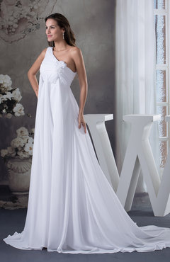 White Modest Hall Asymmetric Neckline Sleeveless Half Backless Chiffon Ruching Bridal Gowns