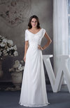 Elegant Destination Short Sleeve Zipper Chiffon Ruching Bridal Gowns