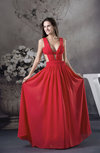 Modern A-line V-neck Sleeveless Floor Length Prom Dresses