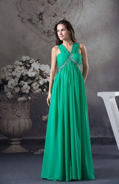 Cute Empire Zip up Chiffon Floor Length Beaded Prom Dresses
