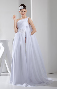 White Elegant Outdoor A-line One Shoulder Backless Court Train Paillette Bridal Gowns