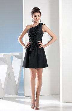 Black Simple A-line One Shoulder Mini Pleated Bridesmaid Dresses