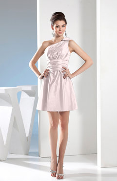 Blush Simple A-line One Shoulder Mini Pleated Bridesmaid Dresses