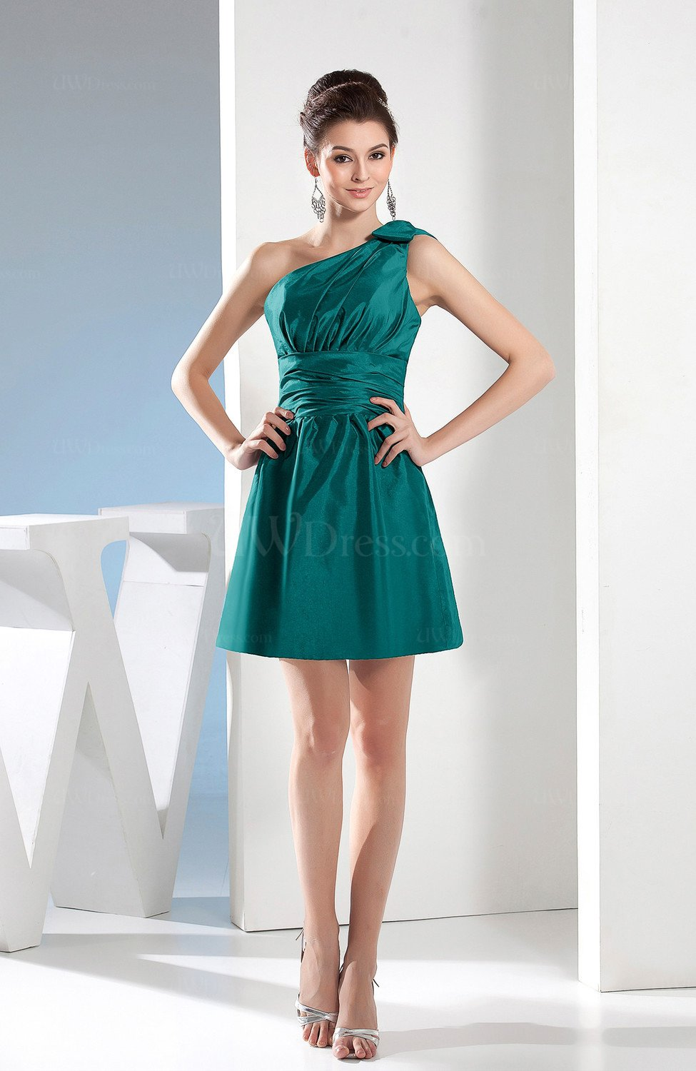 Emerald Green Simple A-line One Shoulder Mini Pleated Bridesmaid ...