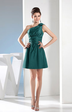 Jade Simple A Line One Shoulder Mini Pleated Bridesmaid Dresses