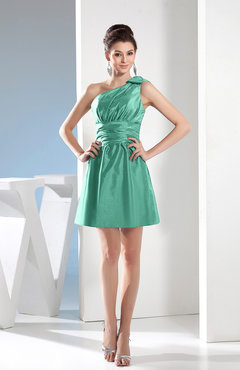 Mint Green Simple A-line One Shoulder Mini Pleated Bridesmaid Dresses